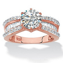 SETA JEWELRY Round and Baguette-Cut Cubic Zirconia Engagement Ring 2.88 TCW in 18k Rose Gold-Plated Sterling Silver