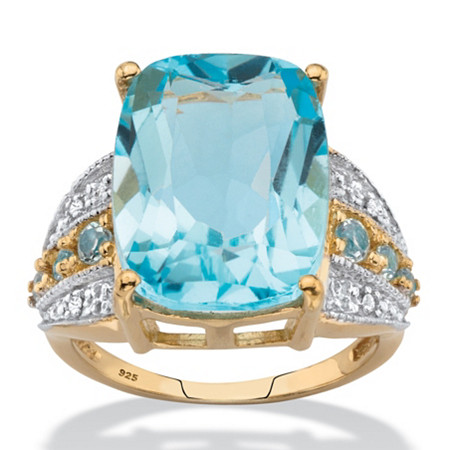 Cushion-Cut Genuine Blue and White Topaz Cocktail Ring 12.39 TCW in 14k Yellow Gold over Sterling Silver at PalmBeach Jewelry