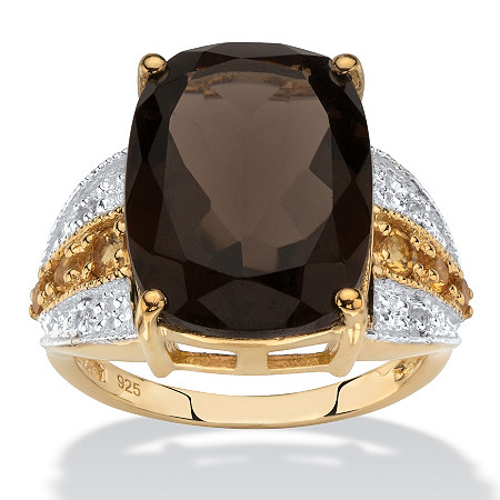 Cushion-Cut Genuine Smoky Quartz, Citrine and White Topaz Ring 7.58 TCW in 14k Yellow Gold over Sterling Silver at PalmBeach Jewelry
