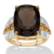 Cushion-Cut Genuine Smoky Quartz, Citrine and White Topaz Ring 7.58 TCW in 14k Yellow Gold over Sterling Silver