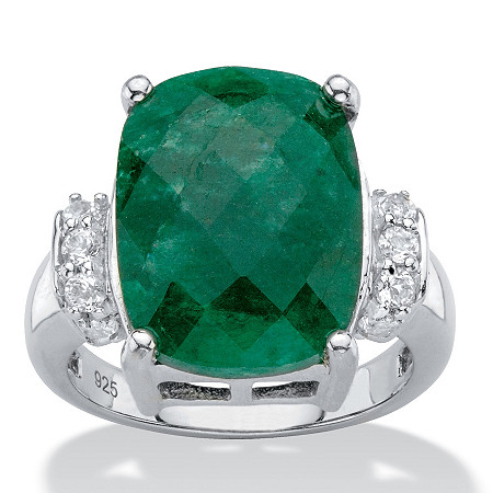 Cushion-Cut Genuine Emerald and White Tanzanite Cocktail Ring 8.45 TCW in Platinum over Sterling Silver at PalmBeach Jewelry