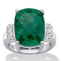 Cushion-Cut Genuine Emerald and White Tanzanite Cocktail Ring 8.45 TCW in Platinum over Sterling Silver