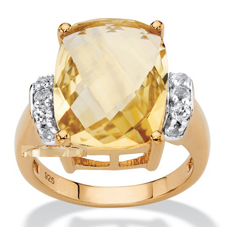 Cushion-Cut Genuine Citrine and White Topaz Cocktail Ring 8.60 TCW in 14k Yellow Gold over Sterling Silver at PalmBeach Jewelry