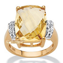SETA JEWELRY Cushion-Cut Genuine Citrine and White Topaz Cocktail Ring 8.60 TCW in 14k Yellow Gold over Sterling Silver
