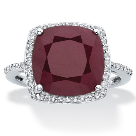 Cushion-Cut Genuine Red Ruby and White Topaz Halo Cocktail Ring 4.61 TCW in Sterling Silver at PalmBeach Jewelry