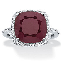 Cushion-Cut Genuine Red Ruby and White Topaz Halo Cocktail Ring 4.61 TCW in Sterling Silver