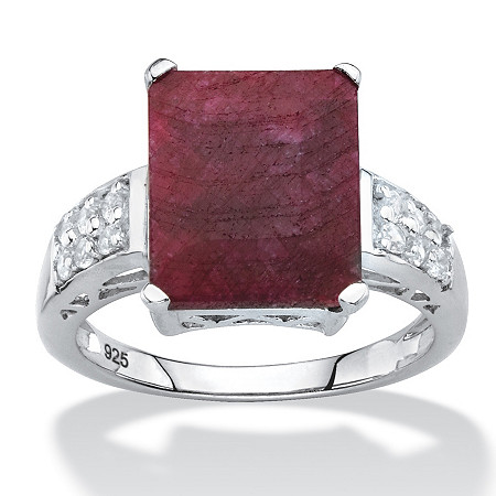 Emerald-Cut Genuine Red Ruby and White Topaz Cocktail Ring 6.65 TCW in Sterling Silver at PalmBeach Jewelry