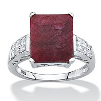 Emerald-Cut Genuine Red Ruby and White Topaz Cocktail Ring 6.65 TCW in Sterling Silver