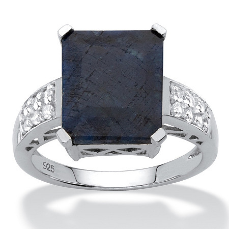 Emerald-Cut Genuine Blue Sapphire and White Topaz Cocktail Ring 7.94 TCW in Sterling Silver at PalmBeach Jewelry