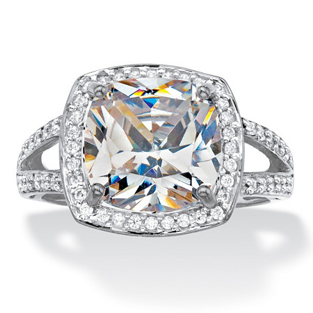 Cushion-Cut Cubic Zirconia Halo Engagement Ring 2.93 TCW in Solid 10k White Gold at PalmBeach Jewelry