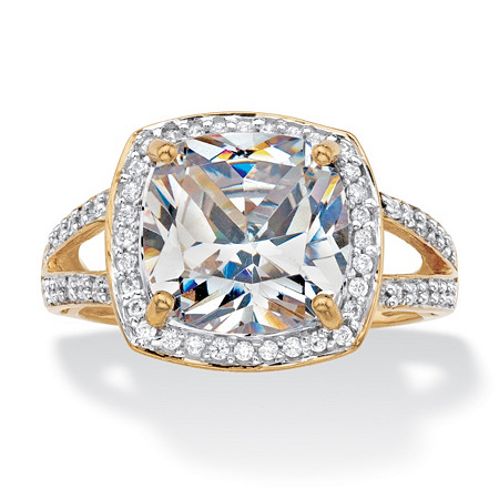 Cushion-Cut Cubic Zirconia Halo Engagement Ring 2.93 TCW in Solid 10k Yellow Gold at PalmBeach Jewelry