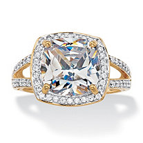 Cushion-Cut Cubic Zirconia Halo Engagement Ring 2.93 TCW in Solid 10k Yellow Gold