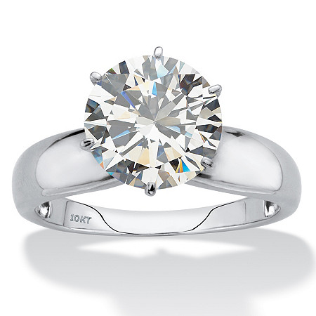 Round Cubic Zirconia Solitaire Engagement Ring 3.50 TCW in Solid 10k White Gold at PalmBeach Jewelry