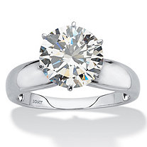 SETA JEWELRY Round Cubic Zirconia Solitaire Engagement Ring 3.50 TCW in Solid 10k White Gold