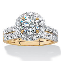Round Cubic Zirconia Halo 2-Piece Wedding Ring Set 2.71 TCW in Solid 10k Yellow Gold