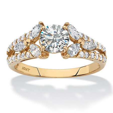 Round Floral Cubic Zirconia Engagement Ring 1.80 TCW in Solid 10k Yellow Gold at PalmBeach Jewelry