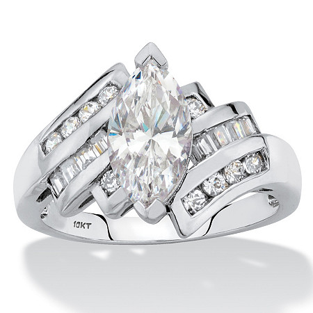 Marquise-Cut Cubic Zirconia Bypass Engagement Ring 2.57 TCW in Solid 10k White Gold with Channel-Set Baguettes at PalmBeach Jewelry
