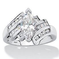 Marquise-Cut Cubic Zirconia Bypass Engagement Ring 2.57 TCW in Solid 10k White Gold with Channel-Set Baguettes