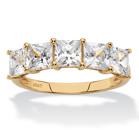 Princess-Cut Cubic Zirconia Row Ring 2.50 TCW in Solid 10k Yellow Gold at PalmBeach Jewelry