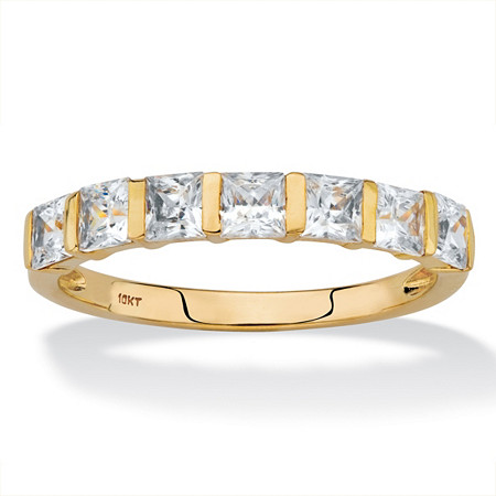 Princess-Cut Cubic Zirconia Channel-Set Row Ring 1.12 TCW in Solid 10k Yellow Gold at PalmBeach Jewelry