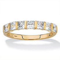 Princess-Cut Cubic Zirconia Channel-Set Row Ring 1.12 TCW in Solid 10k Yellow Gold