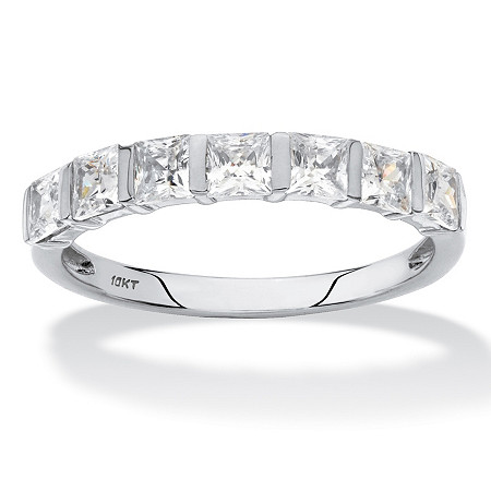 Princess-Cut Cubic Zirconia Channel-Set Row Ring 1.12 TCW in Solid 10k White Gold at PalmBeach Jewelry