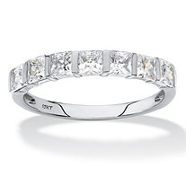 Princess-Cut Cubic Zirconia Channel-Set Row Ring 1.12 TCW in Solid 10k White Gold