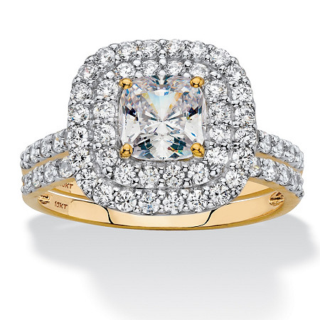 Cushion-Cut Cubic Zirconia Double Halo 2-Piece Wedding Ring Set 1.97 TCW in Solid 10k Yellow Gold at PalmBeach Jewelry