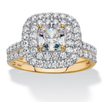 Solid 10k Yellow Gold Cushion-Cut Cubic Zirconia Double Halo 2-Piece Wedding Ring Set 1.97 TCW ONLY $279.93