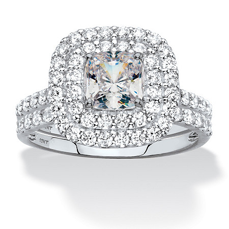Cushion-Cut Cubic Zirconia Double Halo 2-Piece Wedding Ring Set 1.97 TCW in Solid 10k White Gold at Direct Charge presents PalmBeach