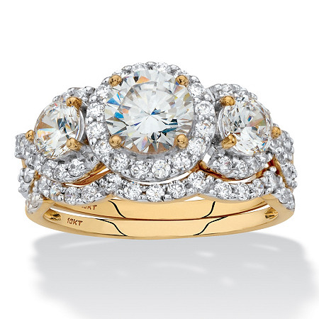 Round Cubic Zirconia 2-Piece Triple Halo Wedding Ring Set 2.69 TCW in Solid 10k Yellow Gold at PalmBeach Jewelry
