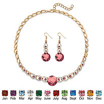"""Simulated Birthstone Crystal 2-Piece Halo Drop Earrings and Necklace Set Round Checkerboard-Cut in Gold Tone 17""""-20"""""""