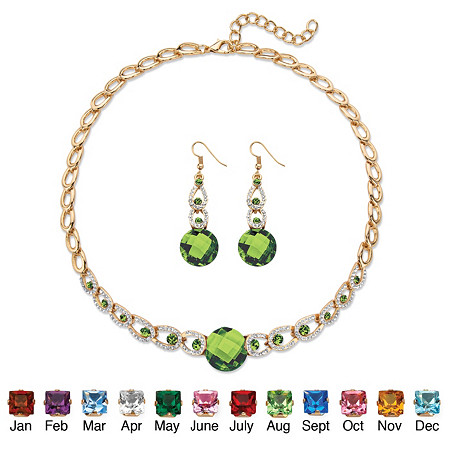 """Birthstone Crystal 2-Piece Halo Drop Earrings and Necklace Set Round Checkerboard-Cut in Gold Tone 17""""-20"""" at PalmBeach Jewelry"""
