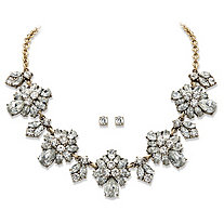 "White Crystal 2-Piece Stud Earrings and Necklace Set in Gold Tone Floral Statement Piece 18""-20"""