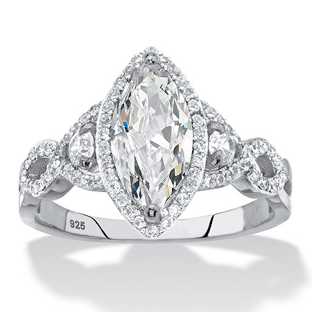 Marquise-Cut Cubic Zirconia Halo Crossover Engagement Ring 2.48 TCW in Sterling Silver at PalmBeach Jewelry