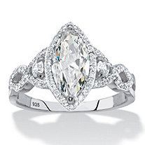Marquise-Cut Cubic Zirconia Halo Crossover Engagement Ring 2.48 TCW in Sterling Silver