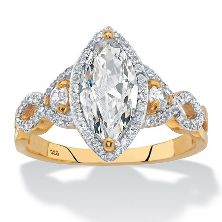 Marquise-Cut Cubic Zirconia Halo Crossover Engagement Ring 2.48 TCW in 14k Yellow Gold over Sterling Silver at PalmBeach Jewelry