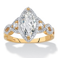 Marquise-Cut Cubic Zirconia Halo Crossover Engagement Ring ONLY $24.99