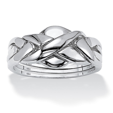 Commitment Symbol Puzzle Ring in Platinum over Sterling Silver at PalmBeach Jewelry