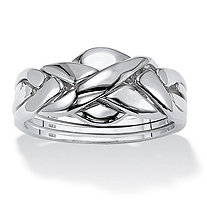 Commitment Symbol Puzzle Ring in Platinum over Sterling Silver
