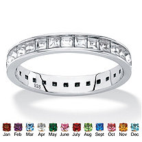 Princess-Cut Birthstone and White Crystal Eternity Ring in Sterling Silver