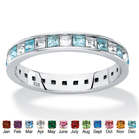 Princess-Cut Birthstone and White Crystal Eternity Ring in Sterling Silver at PalmBeach Jewelry