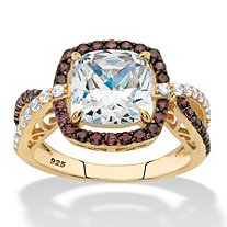 Chocolate and White Cubic Zirconia Halo Engagement Ring 2.94 TCW in 14k Yellow Gold over Sterling Silver