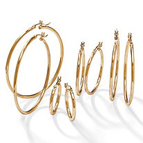 "Polished 4-Pair Set of Hoop Earrings in 18k Yellow Gold over Sterling Silver 2"" 1.5"" 1.25"" .75"""