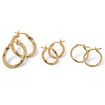 "Polished 4-Pair Set of Hoop Earrings in 18k Yellow Gold over Sterling Silver (1 1/8"", 3/4"")"