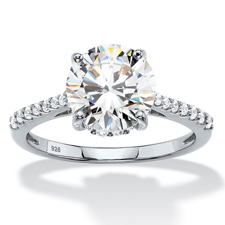 Round Cubic Zirconia Engagement Ring 3.31 TCW in Sterling Silver at PalmBeach Jewelry