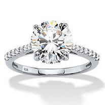 Round Cubic Zirconia Engagement Ring 3.31 TCW in Sterling Silver