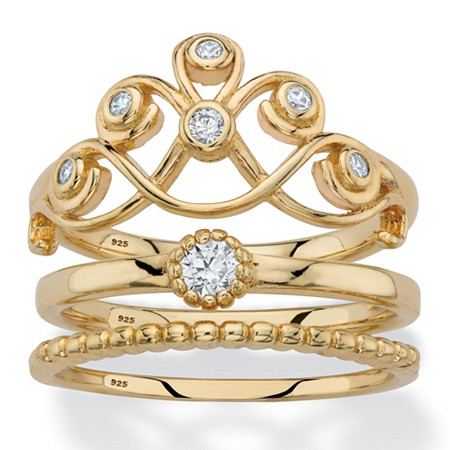Round Cubic Zirconia Crown, Solitaire and Beaded 3-Piece Stackable Ring Set in 14k Gold over Sterling Silver at PalmBeach Jewelry
