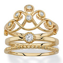 Round Cubic Zirconia Crown, Solitaire and Beaded 3-Piece Stackable Ring Set in 14k Gold over Sterling Silver