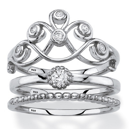 Round Cubic Zirconia Scroll, Solitaire and Beaded 3-Piece Stackable Ring Set in Sterling Silver at PalmBeach Jewelry